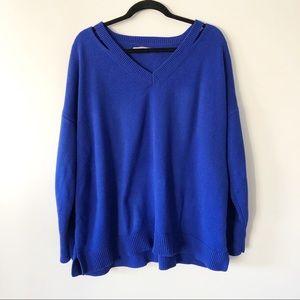 Loft Ann Taylor Long Sleeve Cold Shoulder Sweater